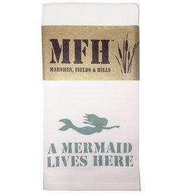 MFH Cotton Tea Towel-20x29 w A Mermaid Lives Here - Aegean