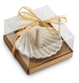 Mud Pie Fan Shell Ceramic Ring Holder w Faux Sand Glaze
