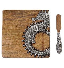 Mud Pie Bar Board w Spreader Set Wood W Metal Seahorse | Mud Pie Gifts