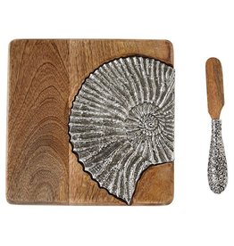 Mud Pie Bar Board w Spreader Set Wood W Metal Nautilus