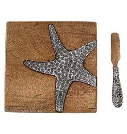 Mud Pie Bar Board w Spreader Set Wood W Metal Starfish | Mud Pie Gifts