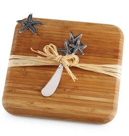 Mud Pie Starfish Bamboo Cutting Board w Starfish Spreader 10375 Mud Pie Gifts