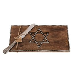 Mud Pie Challah Bread Board w Knife Set Wood w Metal Star of David Inset