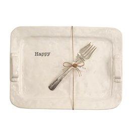 Mud Pie Happy Platter w Turkey Time Serving Fork Set by Mud Pie Gifts