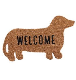 Mud Pie Woven Coir Door Mat Dog Shape w -Welcome- by Mud Pie Gifts and Decor
