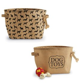 Mud Pie Dog Toys Baskets Set of 2 Printed Burlap Storage Bins by Mud Pie Gifts