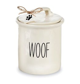 Mud Pie Dog Treat Canister Molted Ceramic w WOOF by Mud Pie Gifts