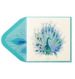 Papyrus Greetings Blank Card Peacock with Gems by Papyrus