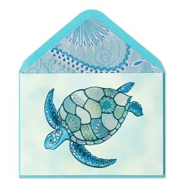Papyrus Greetings Blank Card Mosaic Sea Turtle with Gems by Papyrus
