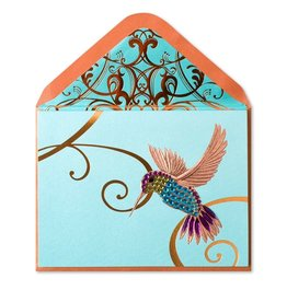 Papyrus Greetings Blank Card Hummingbird on Teal by Papyrus