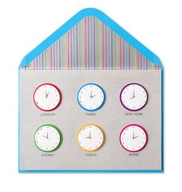 Papyrus Greetings Bon Voyage Card World Clocks