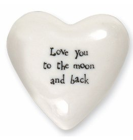 East of India Puffed Heart Paperweight 4179 Love You To The Moon and Back