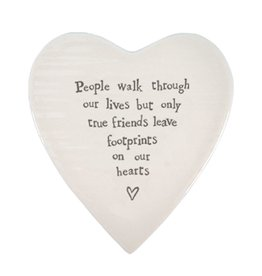 East of India Porcelain Heart Plate Coaster Keepsake E088 People Walk Through our Lives