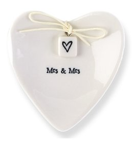East of India Porcelian Heart Ring Dish Keepsake w Mrs Mrs E2073 East of India