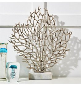 Tozai Home Silver Coral Sculpture On Marble Stand