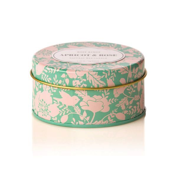 Rosy Rings Soy Candle Travel Tin 2.75oz Apricot Rose