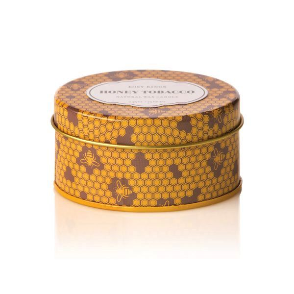 Rosy Rings Soy Candle Travel Tin 2.75oz Honey Tobacco