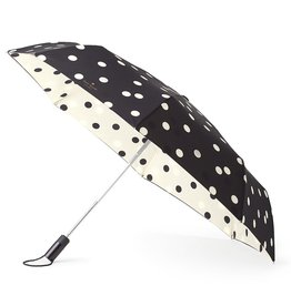 Kate Spade New York Travel Umbrella Black Cream Deco Dots | Kate Spade New York