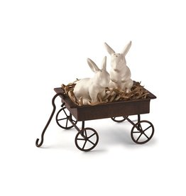 Mud Pie Bunny Wagon Salt and Pepper Set of 3 with 2 Ceramic Bunnies in Wagon