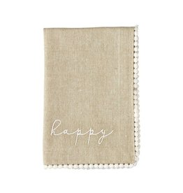 Mud Pie Happy Linen Napkins Set of 4 Chambray Napkins w Flat Dot Trim