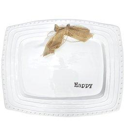 Mud Pie Happy Platter 15x12 Ceramic Embossed w Bow 4071016