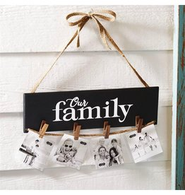 Mud Pie Our Family Photo Holder on Jute Cord w Clothespins Photo Holders