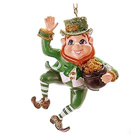 Kurt Adler Irish Christmas Ornament Dancing Leprechaun w Pot of Gold