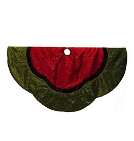 Kurt Adler Christmas Tree Skirt Red Green Silk w Sequins Velvet 60 inch Diameter
