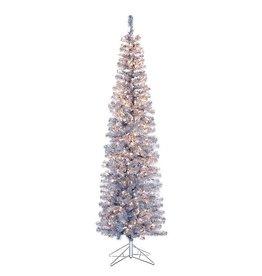 Kurt Adler Christmas Tree Pre-Lit 7 FT Silver Tinsel Winchester Slim Tree