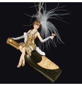 Kurt Adler Champagne Bottle w Art Deco Flapper Girl Ornament T1442-B