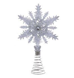 Kurt Adler Christmas Tree Topper Glittered 5in Silver Snowflake w Gem
