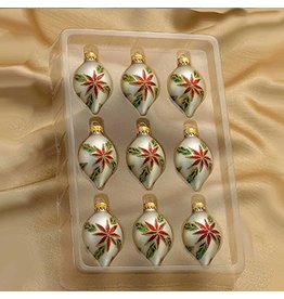 Kurt Adler Christmas Glass Multi-Color Mini Drop Ornaments 35MM Set of 9