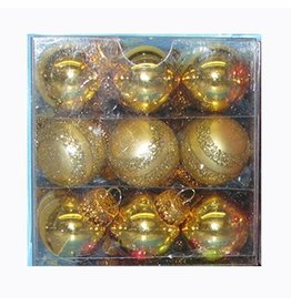 Kurt Adler Christmas Mini Gold Decorated Glass Ball Ornaments 25MM Set 27
