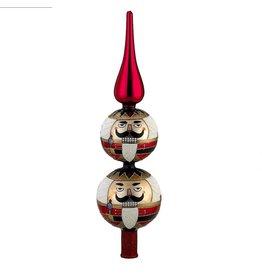 Kurt Adler Christmas Tree Topper Glass Nutcracker Finial Topper 13H GG0581