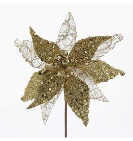 Kurt Adler Gold White Glittered Poinsettia 15in C0388 Christmas Floral