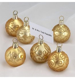 Kurt Adler Christmas Place Card Holders Ball Ornaments Set of 6 C3874