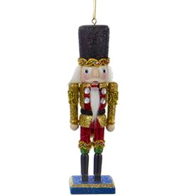 Kurt Adler Christmas Nutcracker Ornament Wood w Glitter Finish 6 inch
