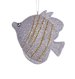 Kurt Adler Tropical Fish Christmas Ornament Silver Gold C7981-A