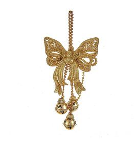 Kurt Adler Gold Glitter Bow w Angel and Bells Christmas Ornament