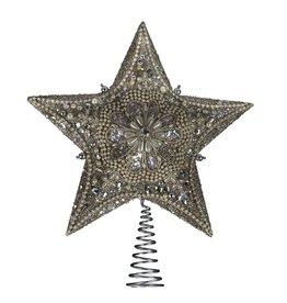 Kurt Adler Christmas Star Tree Topper Platinum Glitter w Pearl Beading