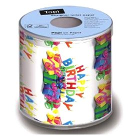 Topi Toilet Paper Happy B-Day Birthday Toilet Paper TOPI Designer Toilet Paper Roll