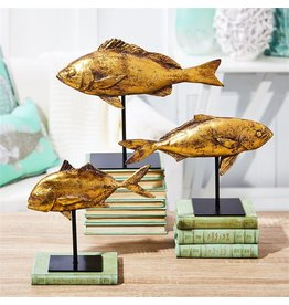 Tozai Home Distressed Gold Fish Sculptures Set of 3