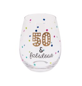Midwest-CBK Birthday Stemless Wine Glass 20oz w 50 and Fabulous