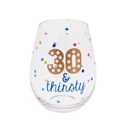 Midwest-CBK Birthday Stemless Wine Glass 20oz w 30 and Thirsty