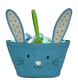 Twos Company Bunny Kisses Easter Basket Jute Bag Blue