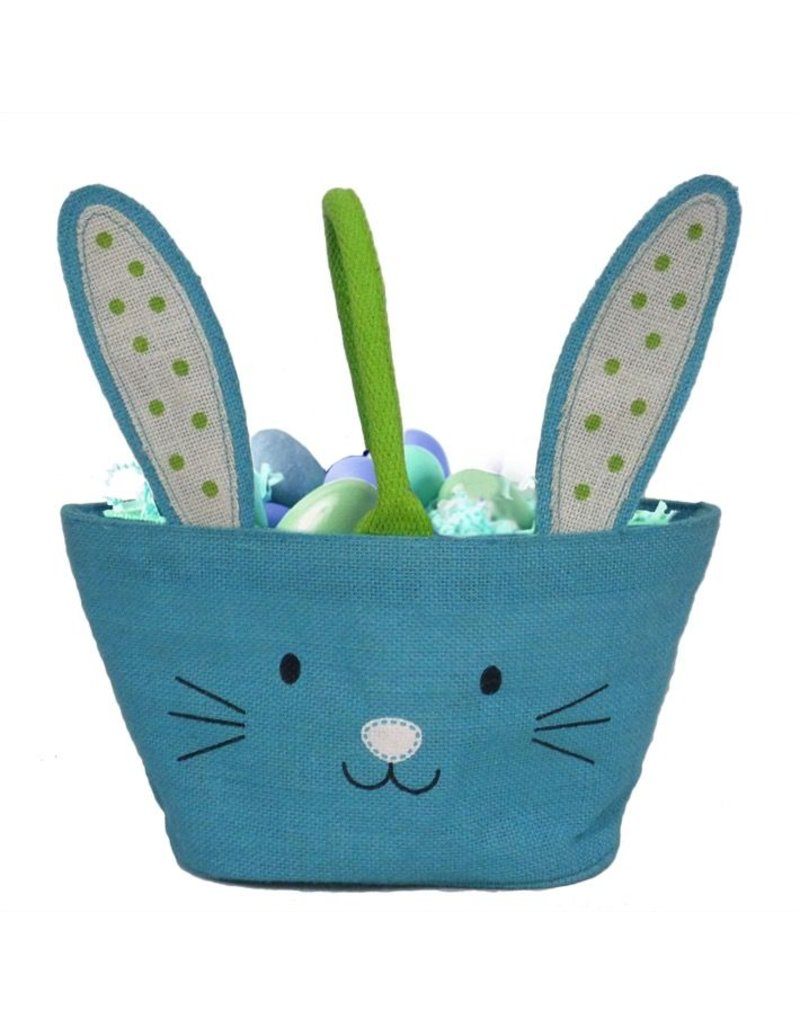 Twos Company Bunny Kisses Easter Basket Jute Bag Blue | Twos Company