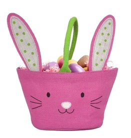 Twos Company Bunny Kisses Easter Basket Jute Bag Pink