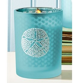 Twos Company Seaside Glass Votive Candle w Sand Dollar