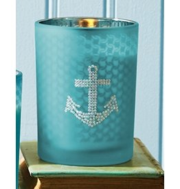 Twos Company Seaside Glass Votive Candle w Anchor