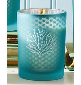 Twos Company Seaside Glass Votive Candle w Coral